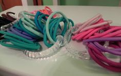 shower curtain rings for elastic hair band storage