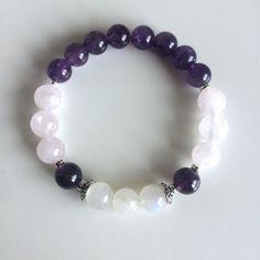 Peace Tranquility Bracelet Amethyst Rose Quartz Moonstone Bracelet Healing Jewelry Intention Bracelet Yoga Jewelry Mala Beads