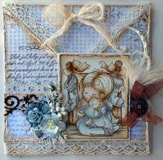 Annes lille hobbykrok: Stampavie, Christmas card, vintage, Distress Ink