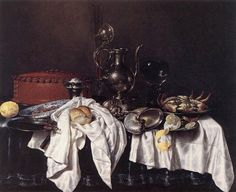 Still-Life with Pie, Silver Ewer and Crab, 1658 Heda, Willem Claesz Painting Reproductions