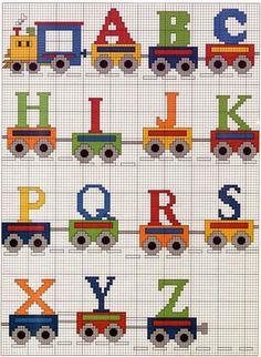Alfabeto con trenes para punto de cruz. | Oh my Alfabetos! 1