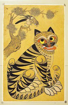 Ancient Korean Tiger Art Korean tiger folk painting from Kunst Der Aborigines, Psychadelic Art, Korean Painting, Motifs Animal, Tiger Art, China Art, Korean Art, Hippie Art, Traditional Paintings