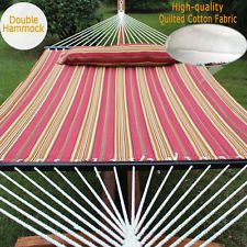 Double Size Hammock Quilted Fabric With Pillow Spreader Bar Hang Bed Heavy Duty Hammock Swing Chair, Swinging Chair, Spreader Bar, Hanging Beds, Double Hammock, Garden Supplies, Lawn And Garden, Beach Mat, Cotton Fabric
