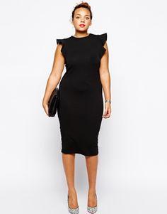 Vergrößern ASOS CURVE – Figurbetontes Kleid mit gerüschten Ärmeln