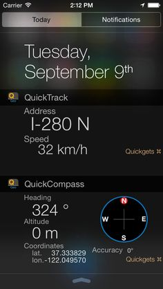 iPhone App Quickgets Geo - compass, altimeter, GPS and speedometer app and widgets | Lifestyle | Navigation |  | 4  | $0.99 NOW FREE | «Best new apps» AppStore app featured in 17 countries, on iOS8 launch day, and now, featuring Apple Watch support!Importa