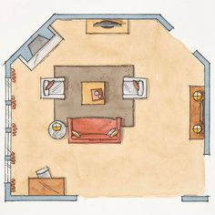 This space plan is great for multiple focal points and oddly shaped rooms.