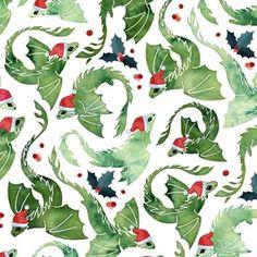 Dragon fire green Christmas holly by adenaj Christmas Fabric, Green Christmas, Vintage Christmas, Holly Bush, Holly Wreath, Fire Dragon, Holly Berries, Holly Leaf, Christmas Gingerbread