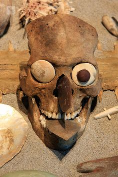 Decorated Aztec skull, Mexico City museum of arthopology