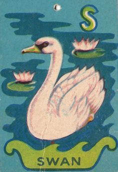 """Vintage Alphabet Cards ~""""S"""" is for Swan~"""