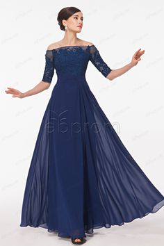 Modest Off the Shoulder Dark Navy Chiffon Prom Dresses with Half Sleeves