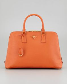 Prada Large Saffiano Lux Bugatti Tote Bag, Papaya Orange