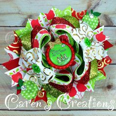 Dr. Seuss stacked boutique bow, Ten Apples on Top, hairbow, bow, Dr. Seuss birthday, over the top