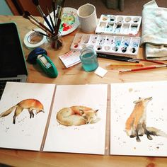 """""""Messy art desk, Watercolor foxes #instapainting #watercolor #fox #etsyfinds #etsy #instaart #instapainting #messydesk"""" Photo taken by @thedailywatercolor on Instagram, pinned via the InstaPin iOS App! http://www.instapinapp.com (12/03/2015)"""