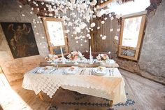 string marshmallows for a chandelier look over table