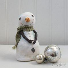 "original art - one-of-a-kind - sculpture - paper clay - snowman - winter- christmas - ""2014 Snowman No.4"""