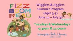 Wigglers & Jigglers for children ages 3-5 on Tuesdays & Wednesdays this summer, 9:30am, 11:00am, & 2:00pm!  Begins next Tuesday!