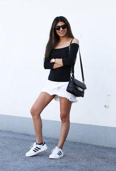fashion landscape | Frayed Denim Skirt - Off Shoulder Top + Adidas Superstar II