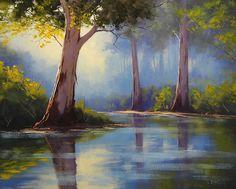 River Gum Trees Canvas Print / Canvas Art by Graham Gercken