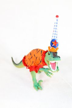 "Party Dinosaur ""Landin""- painted birthday, and room decor on Etsy, $21.00"
