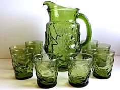 Vintage Anchor Hocking Avocado Green Rain Flower Pitcher & 8 Glasses Set, 1960s Green Pitcher Set, Kitchenware, Wedding, Holiday, Barware