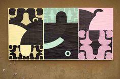 "ficciones-typografika:  Mimmo Manes, Ficciones Typografika 340-342 (24""x36""). Installed on April 1, 2014. More on Ficciones Typografika."