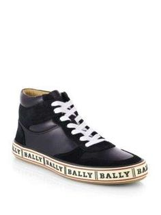 Bally Logo-Soled Leather High-Top Sneakers
