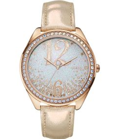 GUESS Gold Leather Strap Crystal Ladies Μοντέλο: W0337L3 Η τιμή μας: 135€ http://www.oroloi.gr/product_info.php?products_id=39895