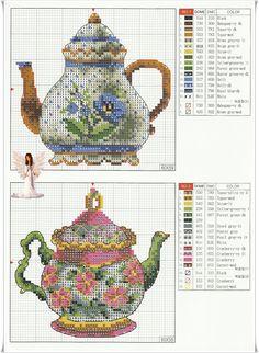 cross-stitch pattern Cross-stitch heaven! plus I love the teapots.