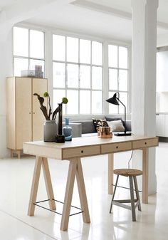 A beautiful, stylish wooden desk by House Doctor with a design twist, available in natural or coloured version. Buy online from concept store BODIE and FOU now >> Home Office Inspiration, Workspace Inspiration, Interior Inspiration, Design Inspiration, House Doctor, Table Office, Office Workspace, Industrial Design Furniture, Furniture Design
