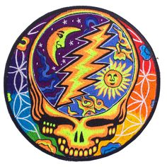 Grateful Dead glowing color Patch psy patch LSD psychedelic skull flower of life rainbow by ImZauberwald on Etsy