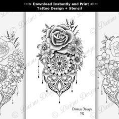 Ornamental Tattoo | Floral Tattoo | Tattoo design + Stencil/Template - Instant Digital Cover Up Tattoos For Women, Tattoos For Women Half Sleeve, Hand Tattoos For Women, Shoulder Tattoos For Women, Front Thigh Tattoos, Lower Leg Tattoos, Back Thigh Tattoo, Side Thigh Tattoos Women, Mandala Tattoo