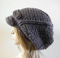 Hand knit slouchy oversized newsboy visor hat chocolate by baboom, $47.90