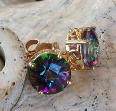 14K Yellow Gold Mystic Topaz Necklace and Earrings by RAMJewelers