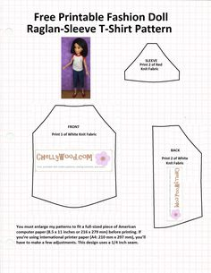 Free t-shirt pattern for Liv Doll. Adjust for Lottie doll