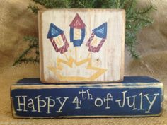Primitive Patriotic Americana Fireworks Happy 4th of July Shelf Sitter Block Set