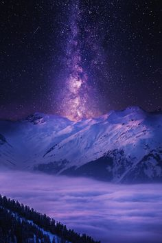 Milky Way over snowy mountain & clouds