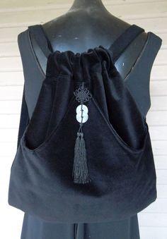 Asian Coin Tassel  Backpack Black Velvet Backpack  Backpack  Black Velvet Book Bag Piperscrossing