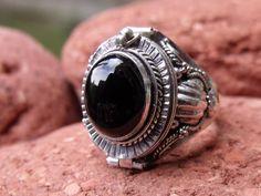 POISON RING 925 SILVER BLACK ONYX UK SIZE N 1/2  * U.S 7 HANDMADE JEWELLERY