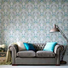 Graham & Brown offers a wide selection of Damask wallpaper and wall coverings for your home. Shop for modern design wallpaper and Damask wall coverings now. Vinyl Wallpaper, Teal Wallpaper, Blue Wallpapers, Beautiful Wallpaper, Bathroom Wallpaper, Wallpaper Ideas, Discount Wallpaper, Mermaid Wall Decor, Contemporary Wallpaper