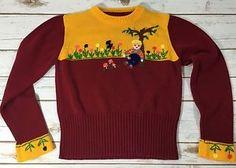 Vtg Maroon Gold Acrylic Knit Childrens 6 8 Sweater Embroidered Flowers Mushroom | eBay