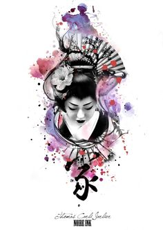 Love the water color effect and the silhouette for the sleeve tat Japanese Sleeve, Japanese Geisha, Japanese Art, Japanese Kimono, Geisha Tattoos, Irezumi Tattoos, Geisha Kunst, Geisha Art, Kokeshi Tattoo