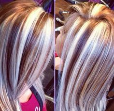 """With all the revolutionary changes in the history of women's hairstyles, hairstylists have published such amazing and differentRead More """"Chunky Highlights Hair Color Ideas"""" Love Hair, Great Hair, Gorgeous Hair, Chunky Blonde Highlights, Hair Highlights, Caramel Highlights, Platinum Highlights, Peekaboo Highlights, Purple Highlights"""