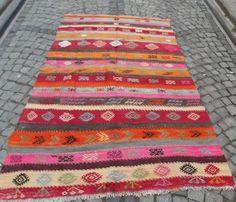 "Pink Vintage Handwoven Kilim Rug,  Modern Turkish  Kilim, Bohemian Kilim Rug 90"" x 57  inch Rustic Home Decor  FREE SHIPPING"