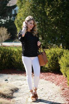 9643358751f87 black floral applique top, white jeans, cognac wedges, cognac leather tote