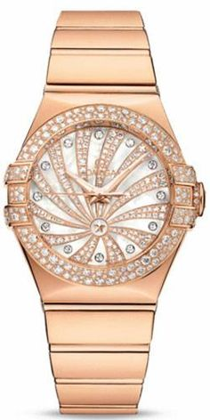 Omega Constellation Women's Watch, Model Number 123.55.31.20.55.010 features Automatic Movement. Made from 18K Rose Gold This Watch  has a Diamond Pave dial, it's 18K Rose Gold bracelet is adjustable from 8 in (20.3 cm) $38,900.00