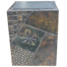 Paul Evans 1970 Signed PE-20 Cube End Side Table Steel Patchwork Brutalist   From a unique collection of antique and modern end tables at https://www.1stdibs.com/furniture/tables/end-tables/