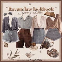 Ravenclaw lookbook moodboard Mode Outfits, New Outfits, Fall Outfits, Fashion Outfits, Fashion Pants, Cute Casual Outfits, Retro Outfits, Vintage Outfits, Aesthetic Fashion