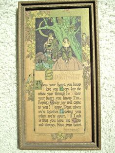 BUZZA MOTTO PRINT My Sweetheart by Lawrence Hawthorne 1926/Romance/Arts & Crafts
