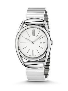 Gucci Horsebit Stainless Steel Analog Watch - Silver - Size No Size