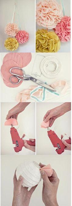 Supplies: Fabric, scissors, hot glue gun, and Chinese lanterns.